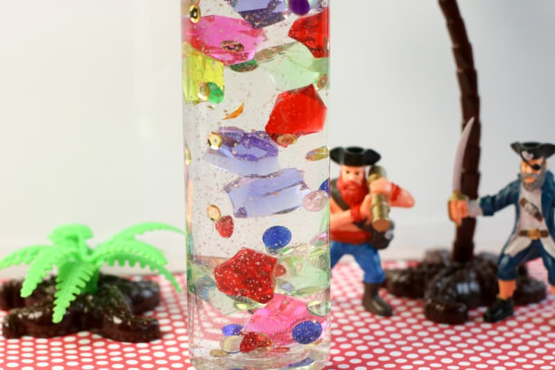 close up view of a pirate sensory bottle