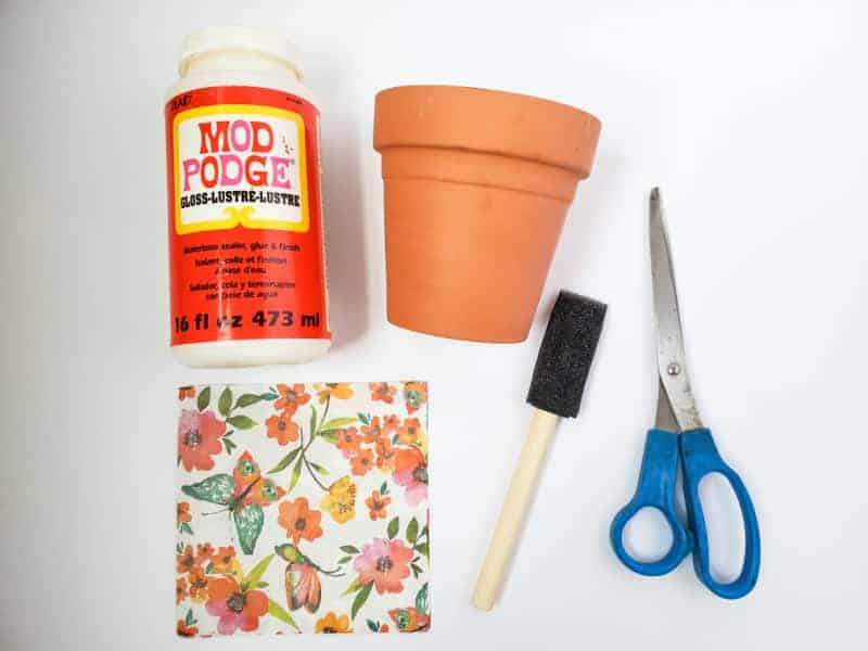 flower pot and mod podge supplies on a white background
